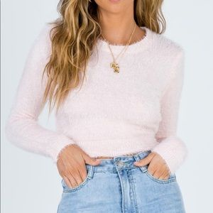 Princess Polly Pink Fuzzy Cropped Sweater